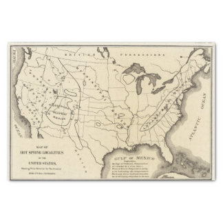 Map, hot springs, United States Tissue Paper