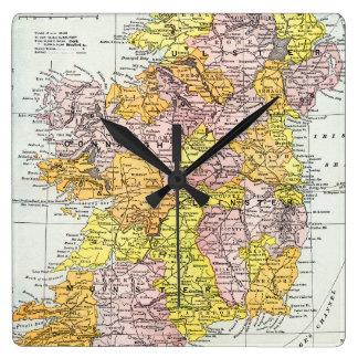 MAP: IRELAND, c1890 Square Wall Clock