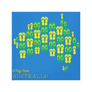 Map made of Aussie thongs Gallery Wrap Canvas