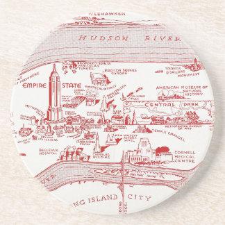 MAP: MANHATTAN, c1935 Coasters