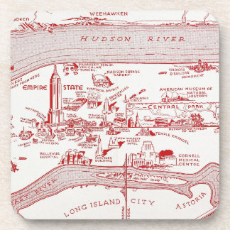 MAP: MANHATTAN, c1935 Drink Coaster