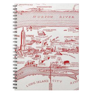 MAP: MANHATTAN, c1935 Spiral Notebooks