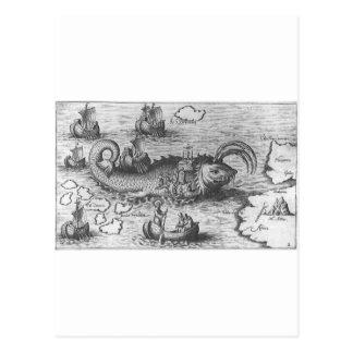 Map Monster/Sea Serpent Postcard