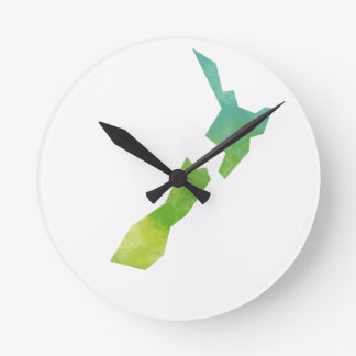 Map New Zealand Round Clock