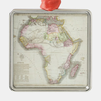 Map of Africa, 1821 Silver-Colored Square Decoration