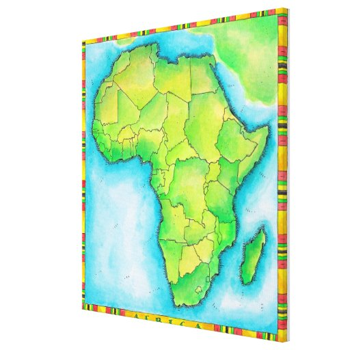 Map of Africa 3 Gallery Wrapped Canvas