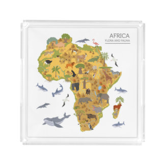 Map of Africa | Flora & Fauna Acrylic Tray