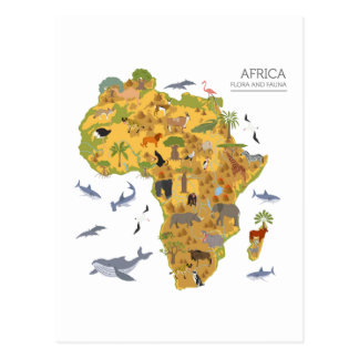 Map of Africa | Flora & Fauna Postcard