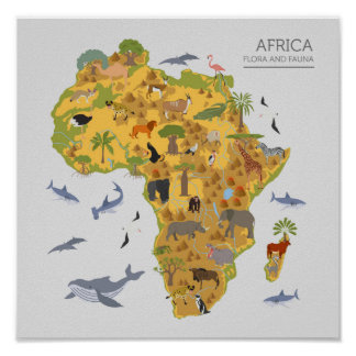Map of Africa | Flora & Fauna Poster