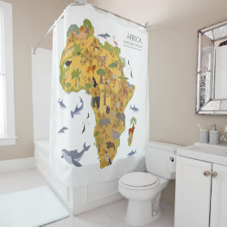 Map of Africa | Flora & Fauna Shower Curtain