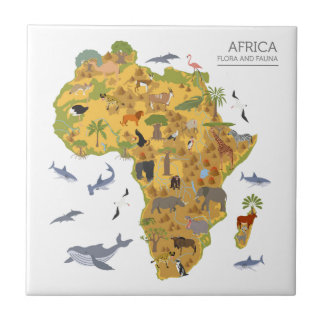 Map of Africa | Flora & Fauna Tile