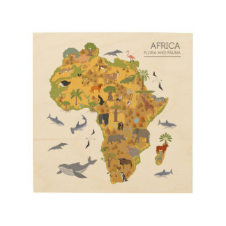 Map of Africa | Flora & Fauna Wood Print