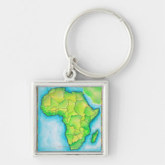 Map of Africa Silver-Colored Square Key Ring