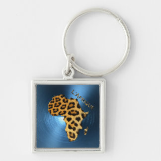 Map of AFRICA Steel-Blue Leopard Fur Series Key Ring