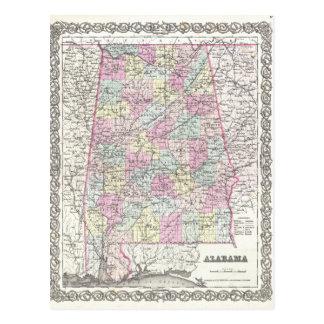 Map of Alabama Postcard