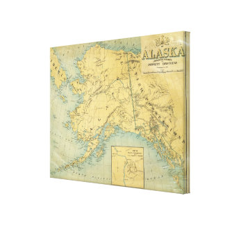 Map Of Alaska Stretched Canvas Prints