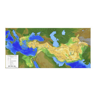 Map of Alexander the Great Empire 334-328 B.C. Canvas Prints