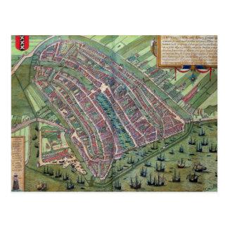 Map of Amsterdam, from 'Civitates Orbis Terrarum' Postcard