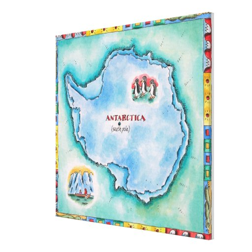 Map of Antarctica Stretched Canvas Prints