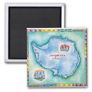 Map of Antarctica Square Magnet