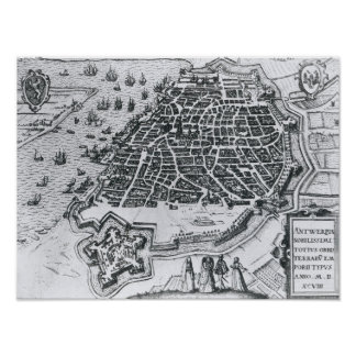 Map of Antwerp, 1598 Poster
