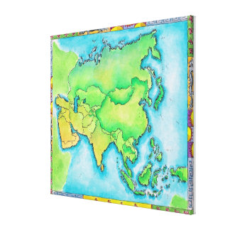 Map of Asia 2 Gallery Wrapped Canvas