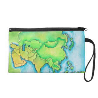 Map of Asia Wristlet Purse