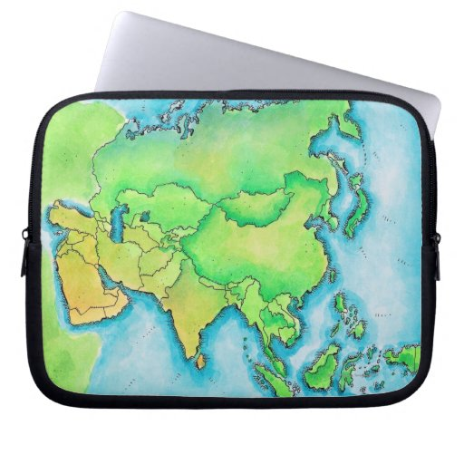 Map of Asia Computer Sleeve