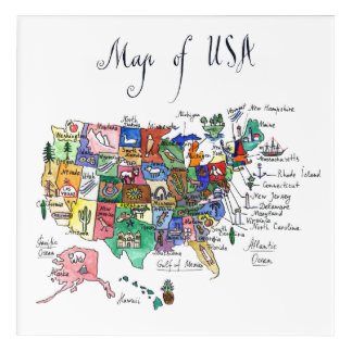 Map of Attractions of United States of America Acrylic Print