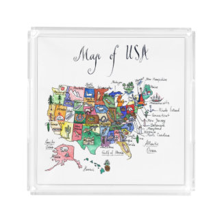 Map of Attractions of United States of America Acrylic Tray