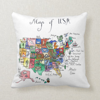 Map of Attractions of United States of America Cushion