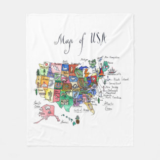 Map of Attractions of United States of America Fleece Blanket