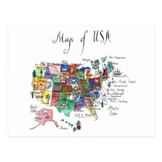 Map of Attractions of United States of America Postcard