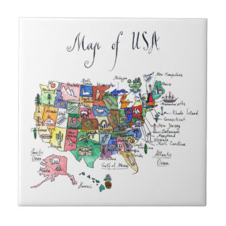 Map of Attractions of United States of America Small Square Tile