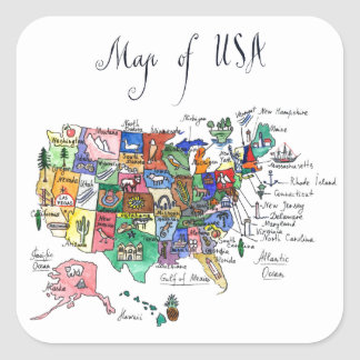 Map of Attractions of United States of America Square Sticker