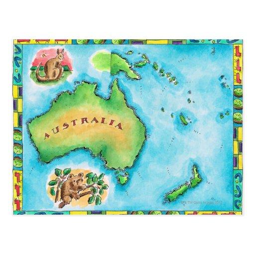 Map of Australia 2 Post Card