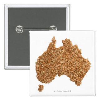 Map of Australia made of Glutinous Rice 15 Cm Square Badge