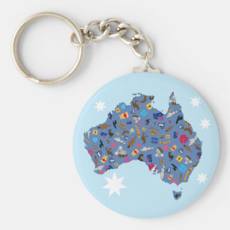 Map of Australia with cultural items Basic Round Button Key Ring