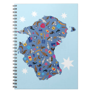 Map of Australia with cultural items Spiral Notebooks