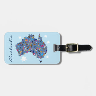 Map of Australia with cultural items Travel Bag Tag