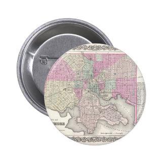 Map of Baltimore Maryland 6 Cm Round Badge