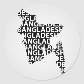 Map of Bangladesh with text inside Classic Round Sticker