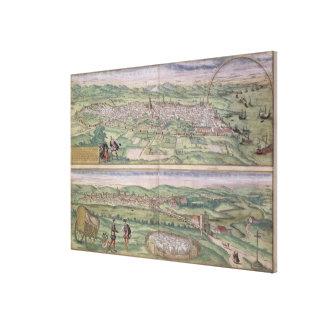 Map of Barcelona, from 'Civitates Orbis Terrarum' Canvas Prints