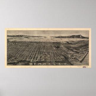 Map of Berkeley, Birds-Eye View, 1909 Poster