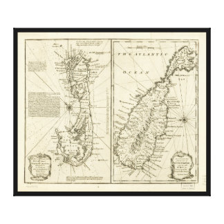 Map of Bermuda Island by Emanuel Bowen (1752) Canvas Print