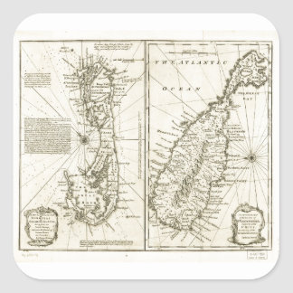 Map of Bermuda Island by Emanuel Bowen (1752) Square Sticker