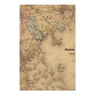 Map Of Boston 1861 Stationery