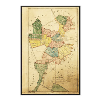 Map of Boston Massachusetts (1805) Stretched Canvas Print