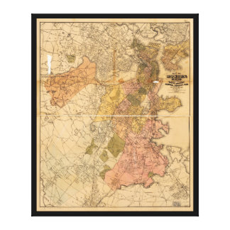 Map of Boston Massachusetts (1888) Stretched Canvas Print