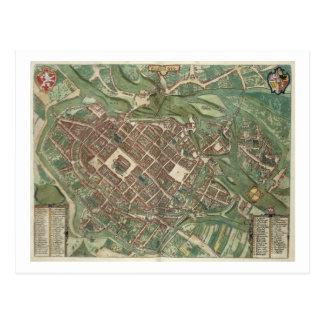 Map of Bratislava, from 'Civitates Orbis Terrarum' Postcard
